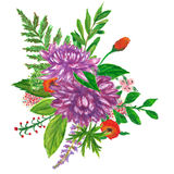 Floral wreath hand painted with oil panda crayons Stock Photo