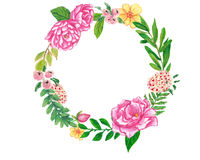 Floral wreath hand painted with oil panda crayons Royalty Free Stock Photography