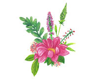 Floral wreath hand painted with oil panda crayons. Stock Image