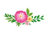 Floral wreath hand painted with oil panda crayons. Royalty Free Stock Photography