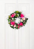 Floral wreath on door Stock Image
