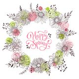Spring time greeting card. Floral wreath with Happy spring callingaphic text. Romantic template for greeting cards and invitation. Spring vector wording with Stock Photos