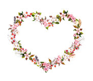 Floral wreath - heart shape. Pink flowers, boho feathers. Watercolor for Valentine day, wedding