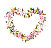 Floral wreath - heart shape. Pink flowers and feathers. Watercolor for Valentine day, wedding in vintage boho style. Floral wreath - heart shape. Pink flowers Royalty Free Stock Photography