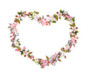 Floral wreath - heart shape. Pink flowers, hearts, keys. Watercolor for Valentine day, wedding Royalty Free Stock Photography