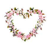Floral wreath - heart shape. Pink sakura flowers, keys. Watercolor for Valentine day, wedding Stock Photography