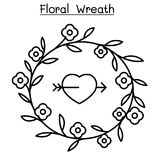 Floral Wreath icon set in thin line style. Vector illustration graphic design Stock Photography
