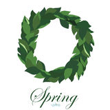Floral wreath of leaves of Lily of the valley, spring wreath. Floral wreath of leaves of Lily of the valley, spring wreath Royalty Free Stock Image