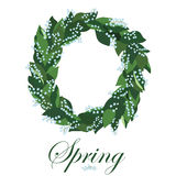 Floral wreath with lilies of the valley, spring wreath. Royalty Free Stock Photos