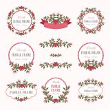 Floral Wreath of Lovely Flowers Design. Suitable for for weddings, Valentines day, birthdays, menu, holidays, baby shower, mothers day, valentines day Royalty Free Stock Photography