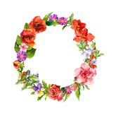 Floral wreath with meadow flowers, wild summer grass. Watercolor round border stock illustration