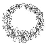 Floral wreath. Merry Christmas and New Year concept. Wreath of branches and flowers . Black and white illustration isolated on white background. Simple art Royalty Free Stock Photography