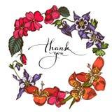 Floral Wreath Of Colored Impatiens, Tigridia, Aquilegia Stock Images