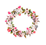 Floral wreath with pink flowers, feathers, hearts, keys. Watercolor circle frame for Valentine day, wedding stock photos