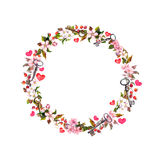 Floral wreath with pink flowers, hearts, keys. Watercolor circle border for Valentine day, wedding. Floral wreath with pink flowers, hearts and keys. Watercolor Stock Photos