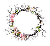 Floral wreath - pink flowers. Watercolor round frame Royalty Free Stock Photography