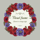 Vector Floral wreath of poppies in vintage style. Stock Photography