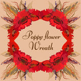 Floral wreath with red poppy flowers and spike lets of wheat. Vector floral wreath with red poppy flowers and spike lets of wheat. Greeting card Royalty Free Stock Photos