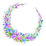 Floral wreath of a rose, bluebell, herbs, lobelia, forget-me-not flower. Garland of a meadow herbs.Watercolor hand drawn illustration Stock Photos