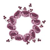 Floral wreath.Round borders made of hand drawn herbs and flowers