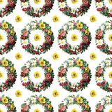 Floral wreath seamless repeat pattern Royalty Free Stock Photography