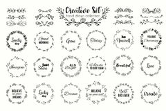 Floral wreath set. Hand drawn flourish frames. Dividers and borders. Herbal elements and flowers Stock Images