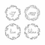 Floral wreath set. Line lettering. Greeting typography. vector illustration