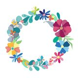 Floral Wreath with simple color Flowers. Over white Royalty Free Stock Photography