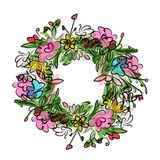 Floral wreath sketch for your design Royalty Free Stock Photos