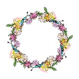 Floral wreath sketch for your design Stock Photo