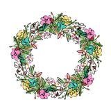 Floral wreath sketch for your design Royalty Free Stock Photo