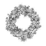 Floral wreath sketch for your design Stock Images
