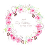 Floral wreath and small medallions vector round frame Royalty Free Stock Photo
