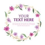 Floral wreath with space for text. Round wreath of various ornamental flowers with space for text Stock Photography