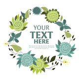 Floral wreath with space for text. Round wreath of various ornamental flowers with space for text Stock Photos