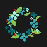 Floral wreath spring. Cute floral wreath on a blue background with place for your records Royalty Free Stock Photo