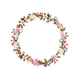 Floral wreath with spring flowers, keys. Vintage watercolor round frame Royalty Free Stock Photo