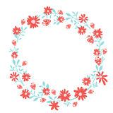 Floral wreath, spring hand drawn frame with Royalty Free Stock Image