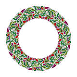 Floral wreath, spring hand drawn frame. Nature inspired garland with red flowers. stock illustration