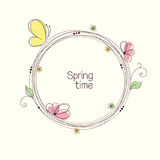 Floral wreath. Stylized wreath with flowers and butterfly. Round floral frame for your text royalty free illustration