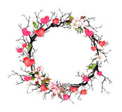 Floral wreath - twigs with spring flowers, hearts. Watercolor circle border for Valentine day, wedding. Floral wreath - twigs with spring flowers and hearts Royalty Free Stock Photos