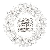 Floral wreath - Valentine design. Royalty Free Stock Images