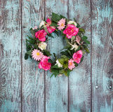 Floral wreath on vintage green background Royalty Free Stock Images