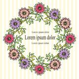 Floral wreath violet, flower, pink, green leaves black outlines on white and yellow striped background Royalty Free Stock Photos