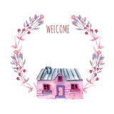 Floral wreath with watercolor cartoon private house in purple and pink shades. Hand painted isolated on a white background Stock Image