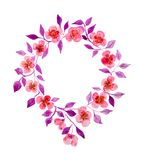 Floral Wreath In Watercolor Royalty Free Stock Photo