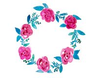 Floral Wreath In Watercolor Royalty Free Stock Photos