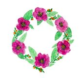 Floral Wreath In Watercolor Stock Photo
