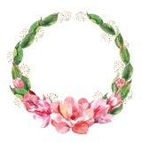 Floral wreath with watercolor magnolia Stock Photography