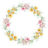 Floral Wreath With Watercolor Yellow And Pink Flowers Royalty Free Stock Photo